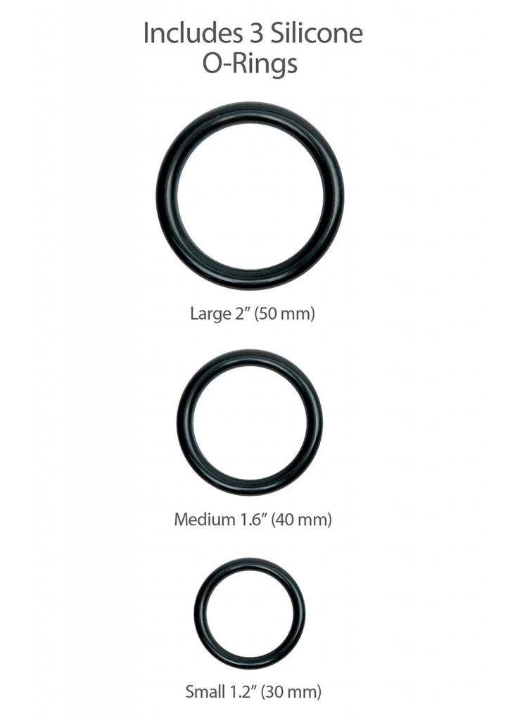 Balení obsahuje 3 silikonové O-kroužky různých průměrů pro uchycení dilda (50 mm, 40 mm, 30 mm)