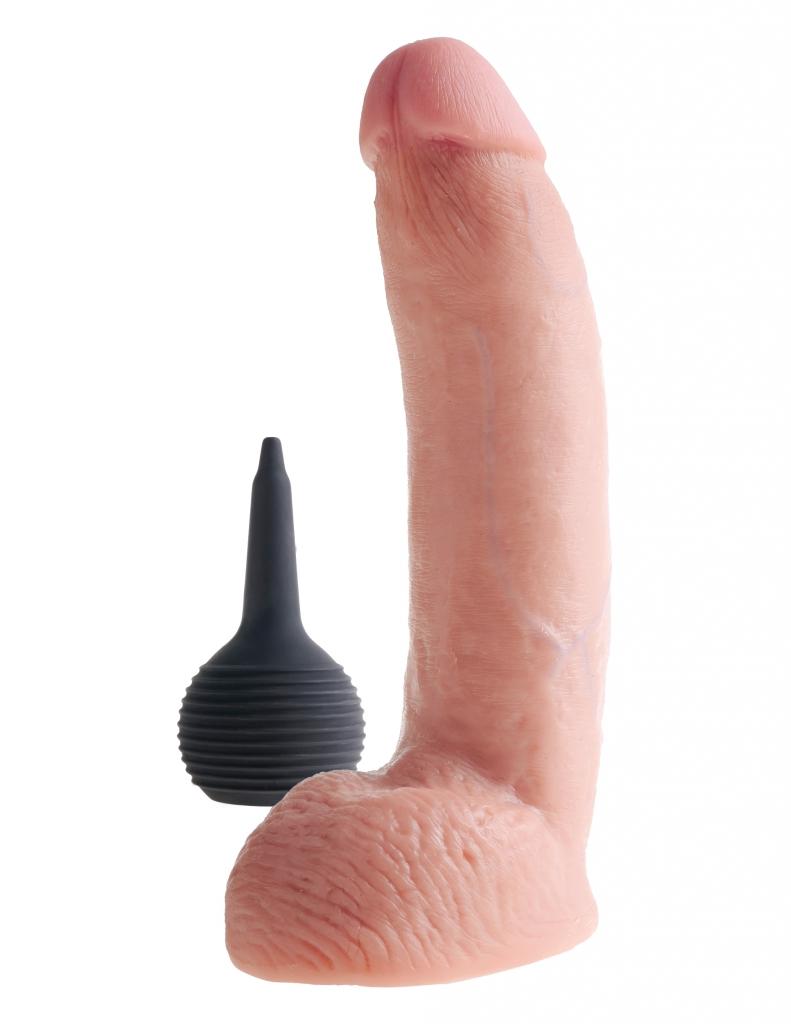 """SQUIRTING Cock 9"""" je stříkající, realistické dildo. Dokonalé provedení do nejmenšího detailu a materiál bezpečný pro Vaše tělo."""