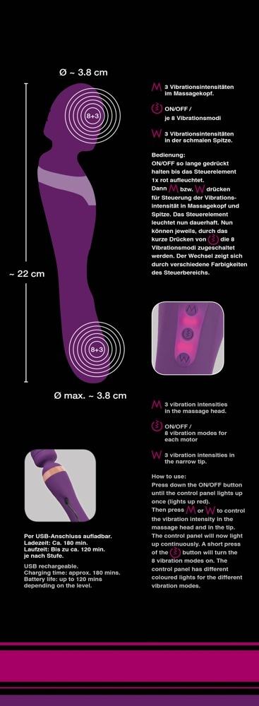 Masážní hlavice - vibrátor Javida Double Massager- krabička a návody