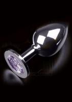 Anální kolík kovový s krystalem Jewellery Large Silver Diamond purple - Dolce Piccante
