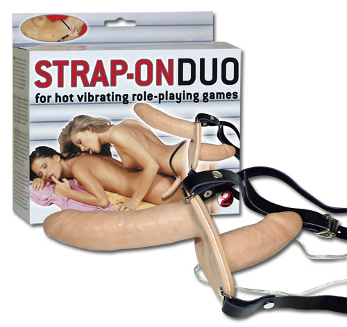 Postroj se dvěma dildy Strap On Duo vibro - You2Toys