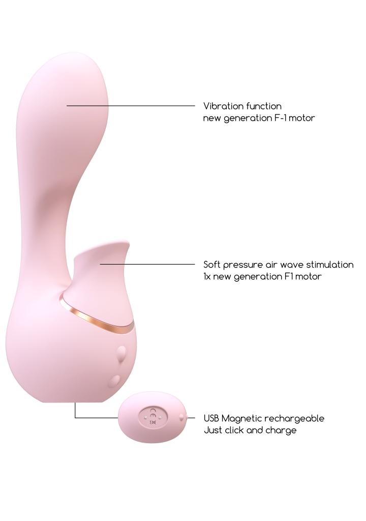 Shots - Irresistible Mythical pink vibrátor s stimulátorom klitorisu