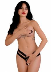 Daring Intimates Lucy black L / XL - tangá s otvoreným rozkrokom